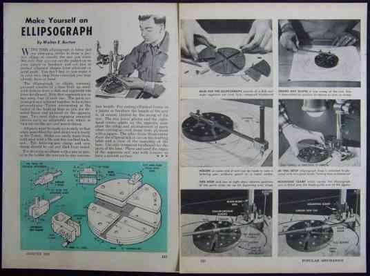 Ellipsograph 1961 How-To build PLANS Draw & Cut Ellipse