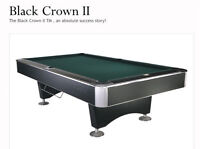 2 BLACK CROWN II' 9 ft POOL TABLES ALMOST NEW