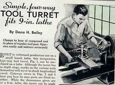 4 Way Tool Turret Tool Post Howto Build Plans 9 Lathe