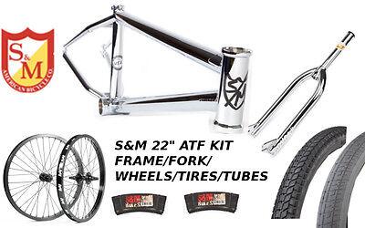 """S&M 22 INCH ATF FRAME 21.625 CHROME 22"""" KIT WHEELS FORKS BMX BIKE TIRES TUBES"""