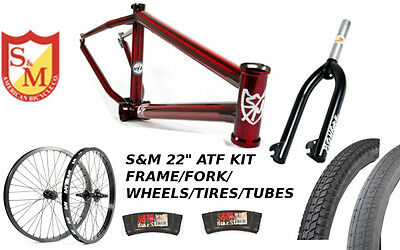 "S&M 22 INCH ATF FRAME 22.125 TRANS RED 22"" KIT WHEELS FORKS BMX BIKE FACTION"