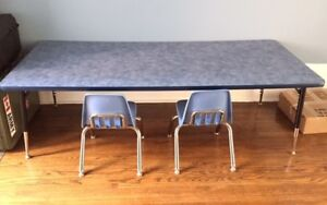 Quality school classroom table and 2 chairs