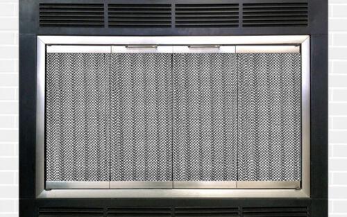 "Portland Prefab Factory Fireplace Door Satin Nickel Finish 37.5"" x 18.5"""