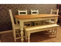 Solid Pine Farmhouse, Table, Chairs and Bench Set - Farrow and Ball