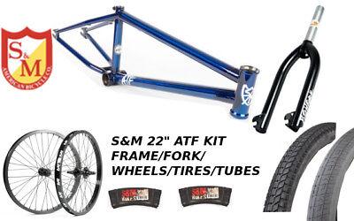 """S&M 22 INCH ATF FRAME 21.625 TRANS BLUE 22"""" KIT WHEELS FORKS FACTION BMX BIKE"""