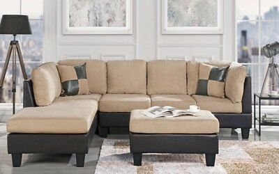 3-Piece Microfiber Faux Leather Sectional Sofa with Matching Ottoman, Beige 3 Piece Sectional Couch