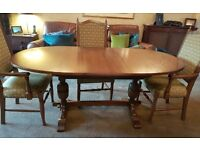 Parker Knoll Oak Dining Table and Four Chairs