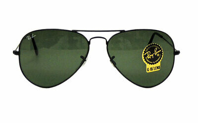 Ray-Ban RB 3025  L 2823 Aviator Sunglasses / Black Frame Green Lens G-15  58 (Ray Ban G15 Lens)