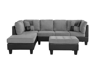 3-PC Living Room Set Microfiber Faux Leather Sectional Sofa, Reversible, Depressing