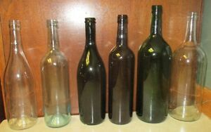 Green and Clear Wine Bottles