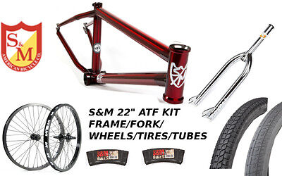 "S&M 22 INCH ATF FRAME 22.125 TRANS RED CHROME 22"" KIT WHEELS FORKS BMX BIKE"