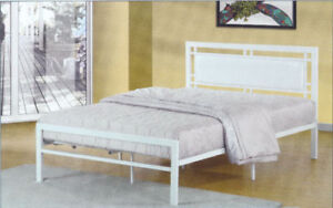 METAL PLATFORM BEDS WITH LEATHERETTE HEADBOARD!