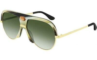 GUCCI Guilloché 0477 Ivory Horn Aviator Green Vintage Unisex Sunglasses GG0477S