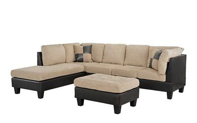 3-PC Faux Leather and Microfiber Sectional Sofa with Ottoman, Beige/Brown