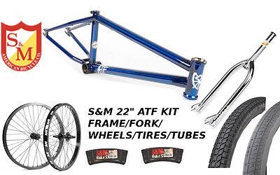 "S&M 22 INCH ATF FRAME 21.625 TRANS BLUE CHROME 22"" KIT WHEELS FORKS BMX BIKE"