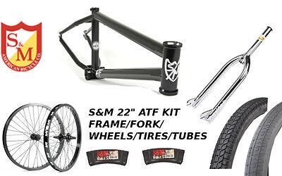 "S&M 22 INCH ATF FRAME 21.625 FLAT BLACK CHROME 22"" KIT WHEELS FORKS BMX BIKE"