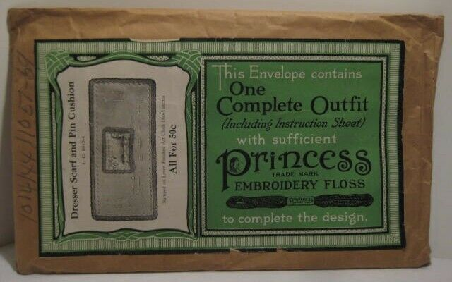 Old 1920s Princess Embroidery Pattern in PKG - Dresser Scarf & Pin Cushion