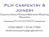 Carpentry Plastering Kitchens and bathrooms