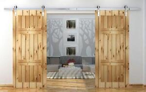 BD-FSS 13ft Modern Barn Wood Sliding Door Hardware Track Kit