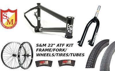 "S&M 22 INCH ATF FRAME 22.125 FLAT BLACK 22"" KIT WHEELS FORKS FACTION BMX BIKE"