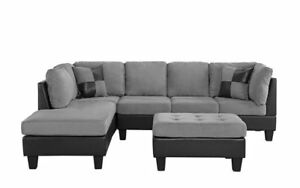 3 PC Living Room Set Microfiber Faux Leather Sectional Sofa, Reversible,  Grey