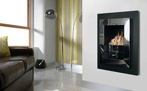 POLISHED CHROME INSET GAS FIRE HOLE IN THE WALL MANUAL BLACK WALL MOUNTED FIRE