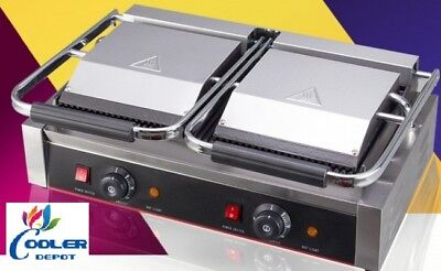 New Double Panini Griddler Sandwich Press Grillcommercial Restaurant Cafe 220v
