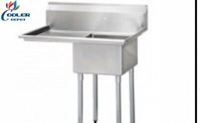 New 18 Stainless Steel Sink Left Compartment Commercial Kitchen Restaurant Nsf