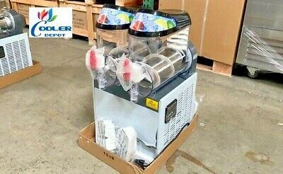 New 2 Bowl 10l Slushie Machine Slush Puppie Icee Frozen Cocktail Maker Double