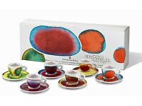 RARE SET OF NEW 2011 ILLY ESPRESSO CUPS & SAUCERS BY FRANCESCO CLEMENTE