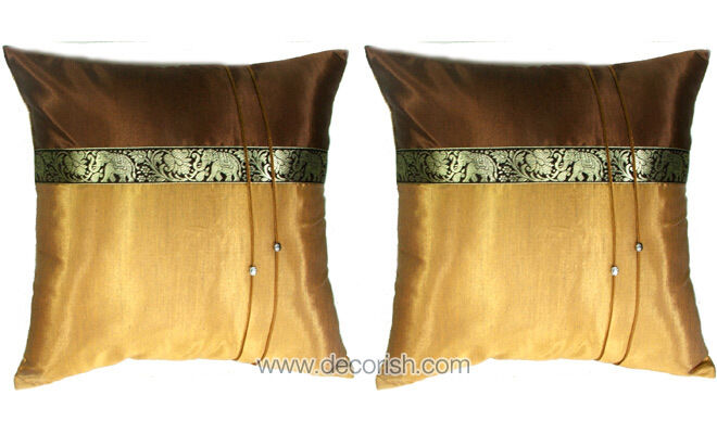 2 VINTAGE CLASSIC THAI ELEPHANTS SILK GOLD BROWN DECORATIVE PILLOW CUSHION COVER