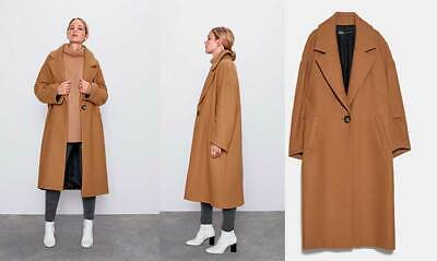 Used, ZARA SOLD OUT OVERSIZED COAT WITH WOOL SIZE S Camel - 8083/666 for sale  Shipping to Ireland
