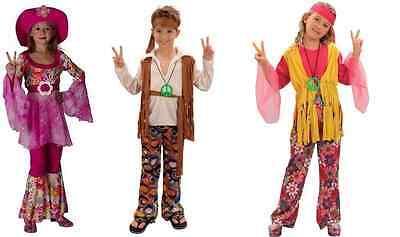 BOYS KIDS GIRLS HIPPY FLOWER POWER 1960S 1970S 60S 70S DISCO HIPPIE FANCY DRESS (Disco Boys Kostüm)