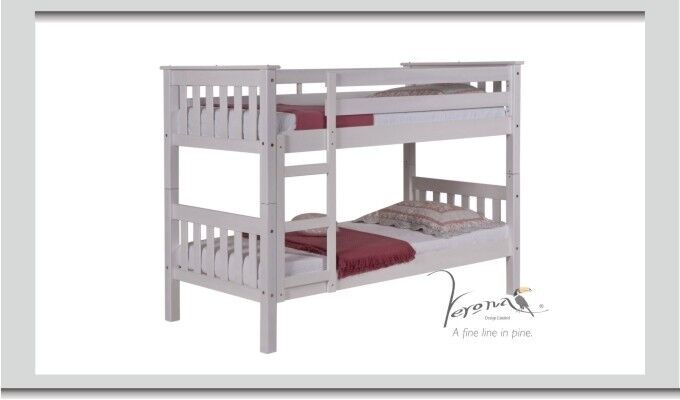 Children S Bunk Bed White Wooden Used With Mattresses In Royston