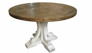 French Provincial Rustic Elm Wood Round Dining Table White Pedestal