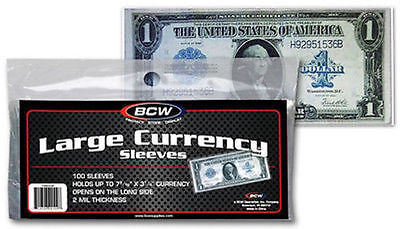 100 BCW LARGE CURRENCY SLEEVES, 2 MIL THICK FITS UP TO 7-7/16 X 3-1/4 NOTES #700