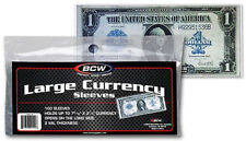 100 BCW LARGE CURRENCY SLEEVES, 2 MIL THICK FITS UP TO 7-7/16 X 3-1/4 NOTES#CS16