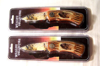 Wildlife Collector Deer Folding Hunting Knife Camping Stainless Steel Pocket