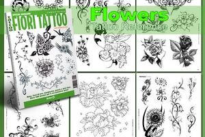 FIORI-FLOWERS-Tattoo-Flash-Design-Book-64-Pages-Cursive-Writing-Art-Supply