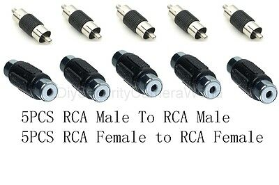 5pcs Rca Male To Rca Male Coupler, 5pcs Rca Female To Rca Female Coupler