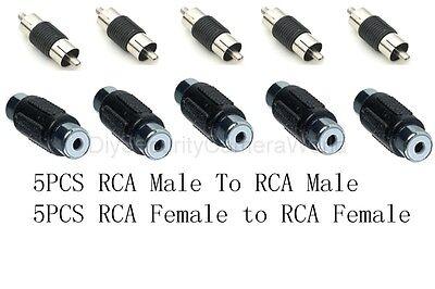 10pcs Rca Coupler. (5pcs Male To Male And 5pcs Female To Female)