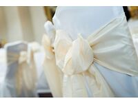 SALE 40P Wedding Party Chair Cover Hire ** ALL ORDERS THIS MONTH * Table Cloths from£3.50*