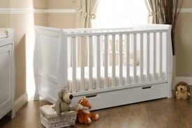 Obaby White Sleigh Cot Bed