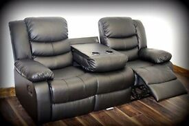 BRANDNEW Romina 3 + 2 Seater Leather Recliner Sofa set with Cup Holder