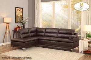 Brown Leather  Sectional with Chrome Legs - Sectional Sale (BD-2486)