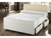 🔲🔳BLACK WHITE OR GREY DIVAN BASE🔲🔳 Brand New Double/King Divan Bed Base With Deep Quilt Mattress