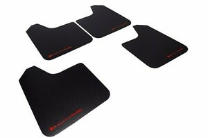 Rally Armor MF12-BAS Basic Universal Mud Flaps Set 4 x Black w/ Red Logo