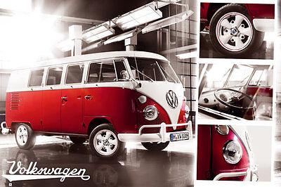 Poster CARS - VW BUS / Camper - Split Screen & 3 small Pics ca90x60cm NEU 58383