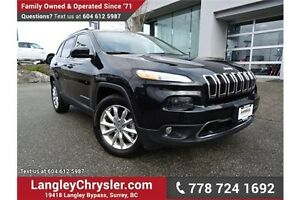 2016 Jeep Cherokee Limited ACCIDENT FREE w/ 4X4, LEATHER & PA...