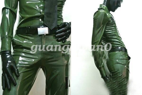 100%Latex Rubber Men Police Uniforms Cool Coat And Pants Suit Metal Green XS-XXL